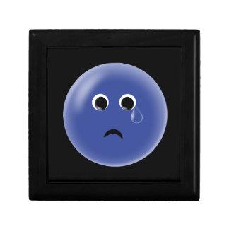 Sad Blue Smiley Small Square Gift Box