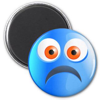Sad Blue Smilie 6 Cm Round Magnet