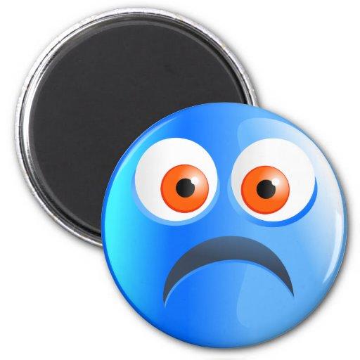 Sad Blue Smilie Fridge Magnets