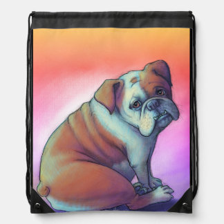 Sad Bulldog Drawstring Bag
