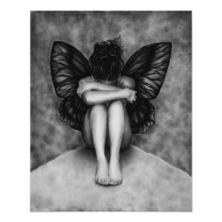 Sad Butterfly Girl Poster