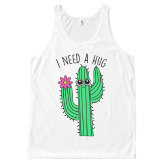 Sad Cactus 'I need a hug' Slogan Vest Top All-Over Print Tank Top