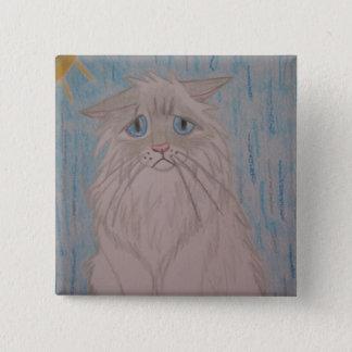 Sad Cat 15 Cm Square Badge
