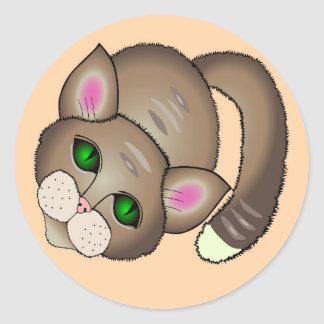 Sad cat classic round sticker