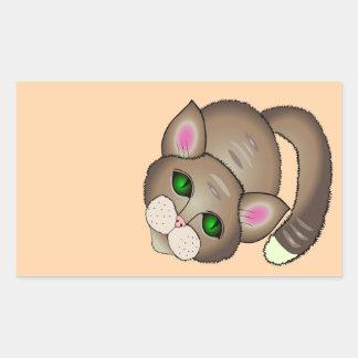 Sad cat rectangular sticker