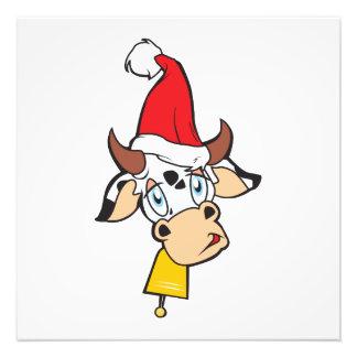 Sad Christmas Cow Santa Hat Bell Greeting Card Pin Photo Print