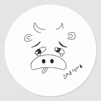 Sad Cow Classic Round Sticker