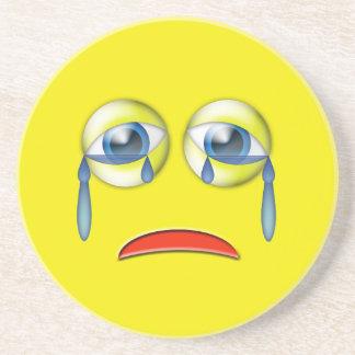 Sad Crying Emoji Beverage Coaster