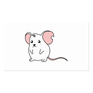 Sad Crying Weeping White Mouse Pillow Button Pin Business Cards