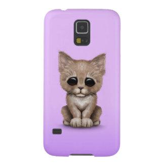 Sad Cute Beige Kitten Cat on Purple Cases For Galaxy S5