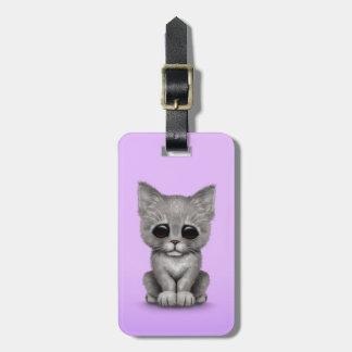 Sad Cute Gray Kitten Cat on Purple Luggage Tag