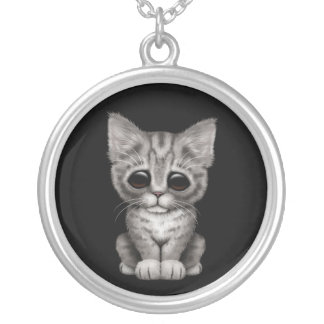 Sad Cute Gray Tabby Kitten Cat on Black Silver Plated Necklace