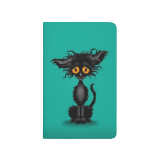 Sad, Cute Scruffy Black Cat on Teal Blue Journal