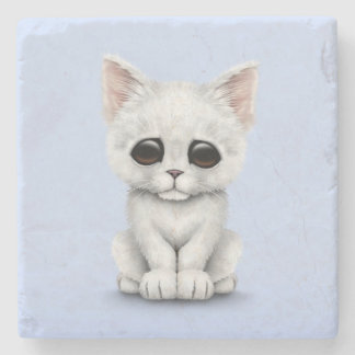 Sad Cute White Kitten Cat on Blue Stone Coaster