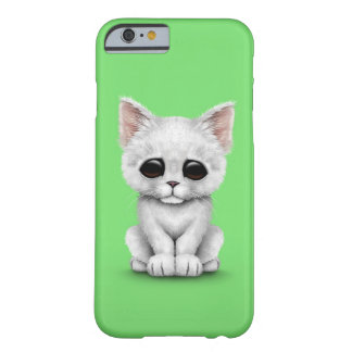 Sad Cute White Kitten Cat on Green Barely There iPhone 6 Case