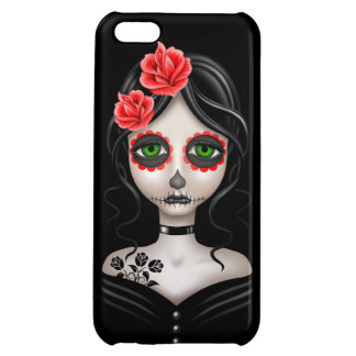 Sad Day of the Dead Girl on Black Case For iPhone 5C