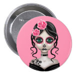 Sad Day of the Dead Girl on Pink Badge