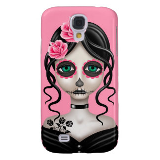 Sad Day of the Dead Girl on Pink Galaxy S4 Case