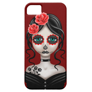 Sad Day of the Dead Girl on Red iPhone 5 Cover