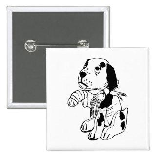 Sad Dog With Broken Leg 15 Cm Square Badge