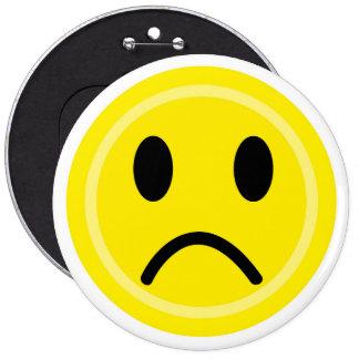 Sad emoticon 6 cm round badge