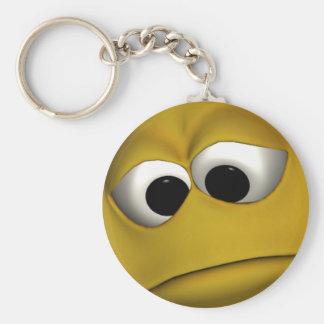 Sad Emoticon Basic Round Button Key Ring