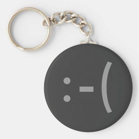 Sad Face Basic Round Button Key Ring