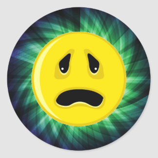 Sad Face; Green Classic Round Sticker