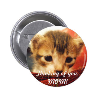 Sad Face Kitten Thinking of YOU Button