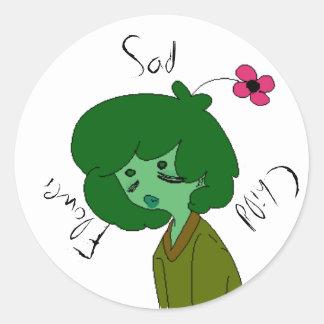Sad Flower Child Classic Round Sticker