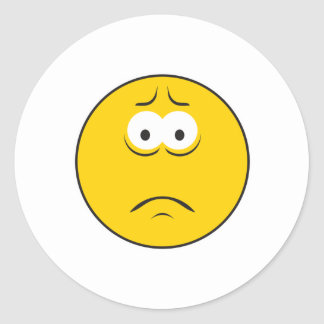 Sad Frowning Smiley Face Round Sticker