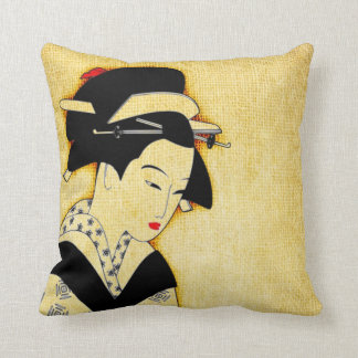 Sad Geisha Soft Yellow Cushion