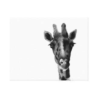 Sad giraffe graphic illustration canvas print