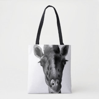Sad giraffe with big eyes, graphic design, black tote bag