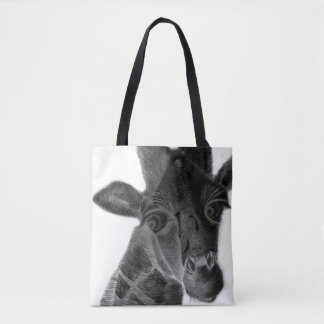Sad giraffe with big eyes, graphic design tote bag