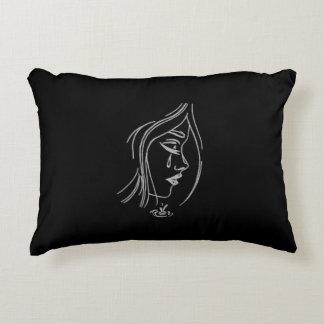 Sad Girl Pillow in Black
