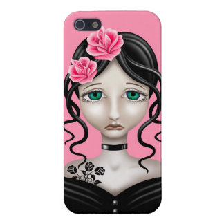 Sad Girl with Pink Roses iPhone 5 Cover
