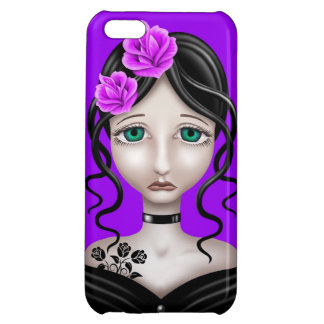 Sad Girl with Purple Roses iPhone 5C Cases