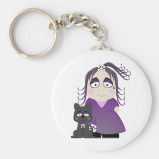 Sad Gothic Girl And Cat In Purple Key Chain