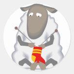Sad Ironic Sheep Knitting Sock Wool Round Sticker