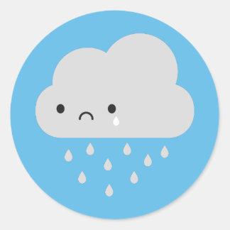Sad Kawaii Rain Cloud Classic Round Sticker