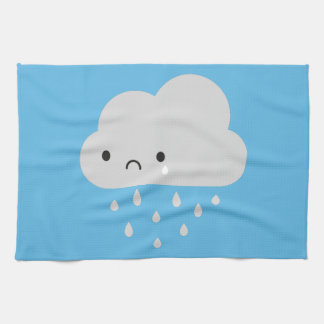 Sad Kawaii Rain Cloud Kitchen Towels