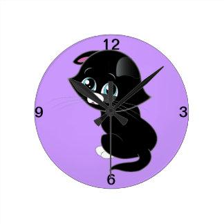 Sad Kitten Round Clock