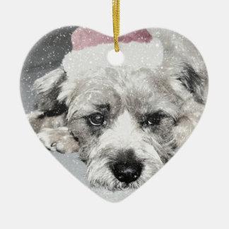 Sad little christmas dog christmas ornament