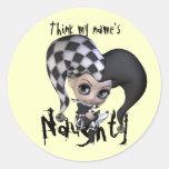 Sad Little Jester Round Stickers
