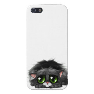 Sad little kitten with huge green eyes (on white) iPhone 5/5S cases