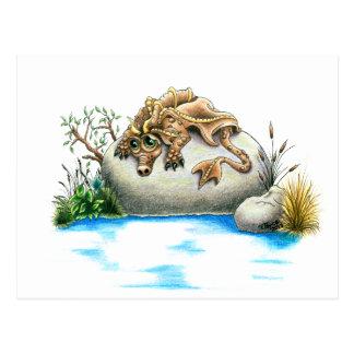 Sad little rock dragon postcard
