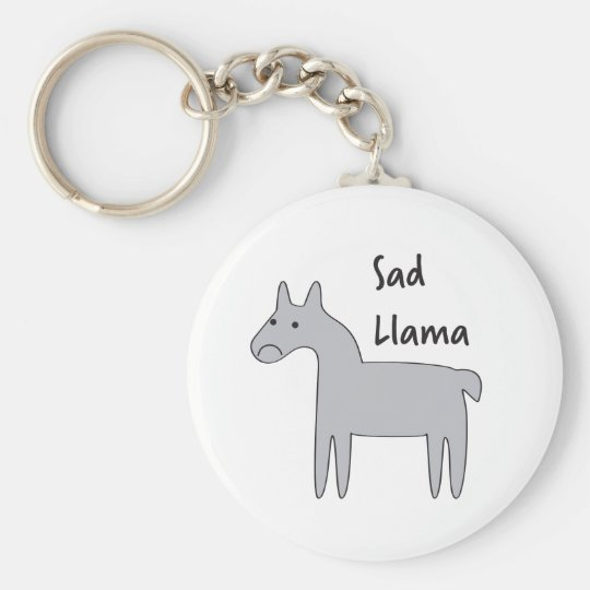 Sad Llama Basic Round Button Key Ring