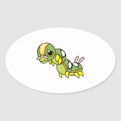 Sad Lonely Crying Weeping Caterpillar Card Stamp Oval Sticker