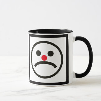 Sad Looking Face with Cheeky Red Nose Mug